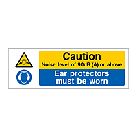 Caution noise level of 90db or above ear protectors must be worn sign