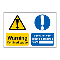 Warning confined space permit to work must be obtained sign