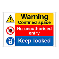 Warning confined space No unauthorised entry Keep locked