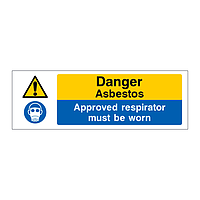 Danger Asbestos Approved respirator must be worn sign