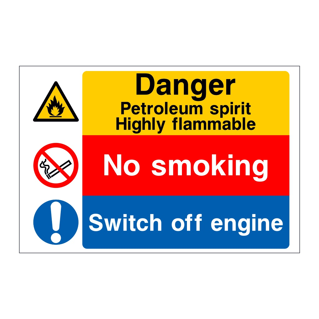 Danger Petroleum spirit Highly flammable No smoking Switch off engine sign