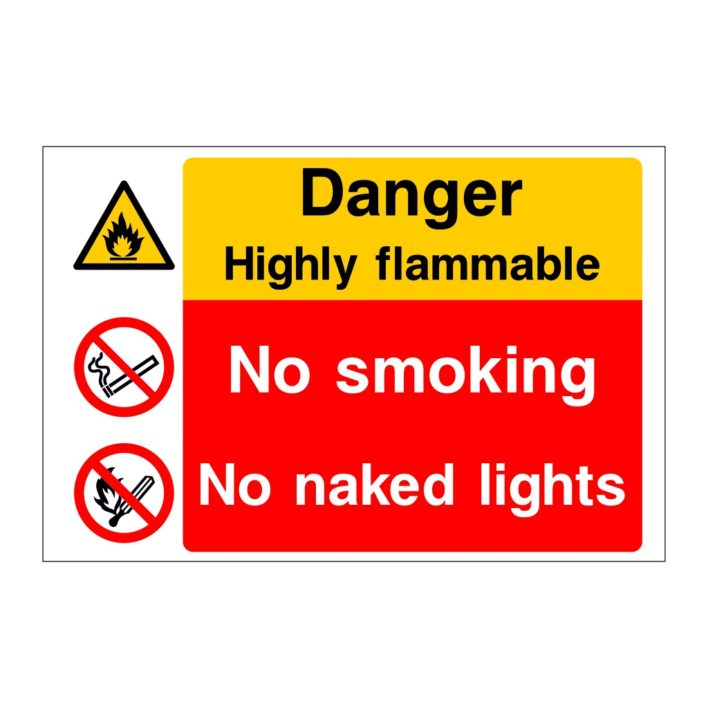 Danger Highly flammable No smoking No naked lights sign