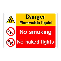 Danger Flammable liquid No smoking No naked lights sign