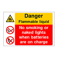 Danger Flammable liquid No smoking or naked lights when batteries are on charge sign