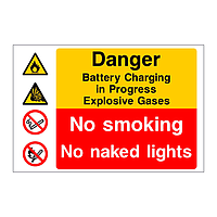 Danger Battery Charging In Progress multi-message sign