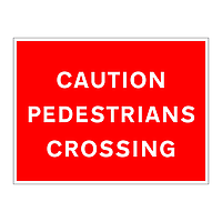 Caution pedestrians crossing sign