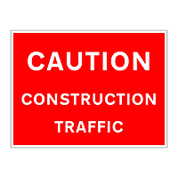 Caution construction traffic sign