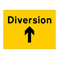 Diversion ahead arrow sign