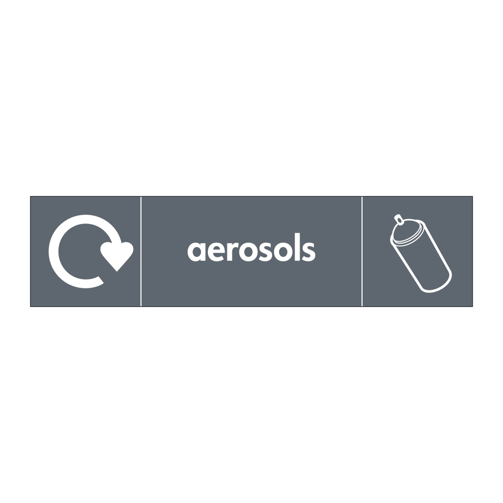 Aerosols with WRAP Recycling Logo & Icon sign