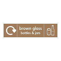 Brown glass bottles & jars with WRAP recycling logo & icon sign