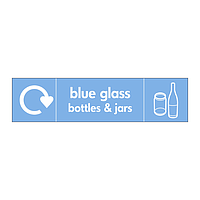 Blue glass bottles & jars with WRAP recycling logo & icon sign
