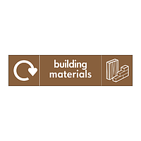 Building materials with WRAP recycling logo & icon sign