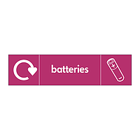 Batteries with WRAP Recycling Logo & Icon sign