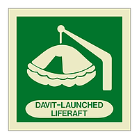 Davit Launched Liferaft with Text (Marine Sign)