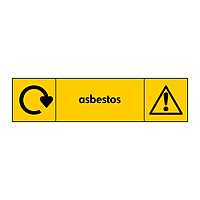 Asbestos with WRAP recycling logo & icon sign