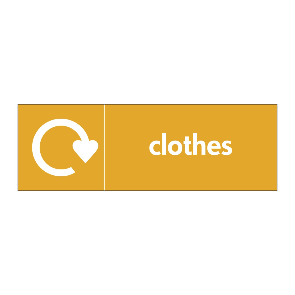 Clothes with WRAP recycling logo sign