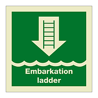 Embarkation Ladder with Text (Marine Sign)