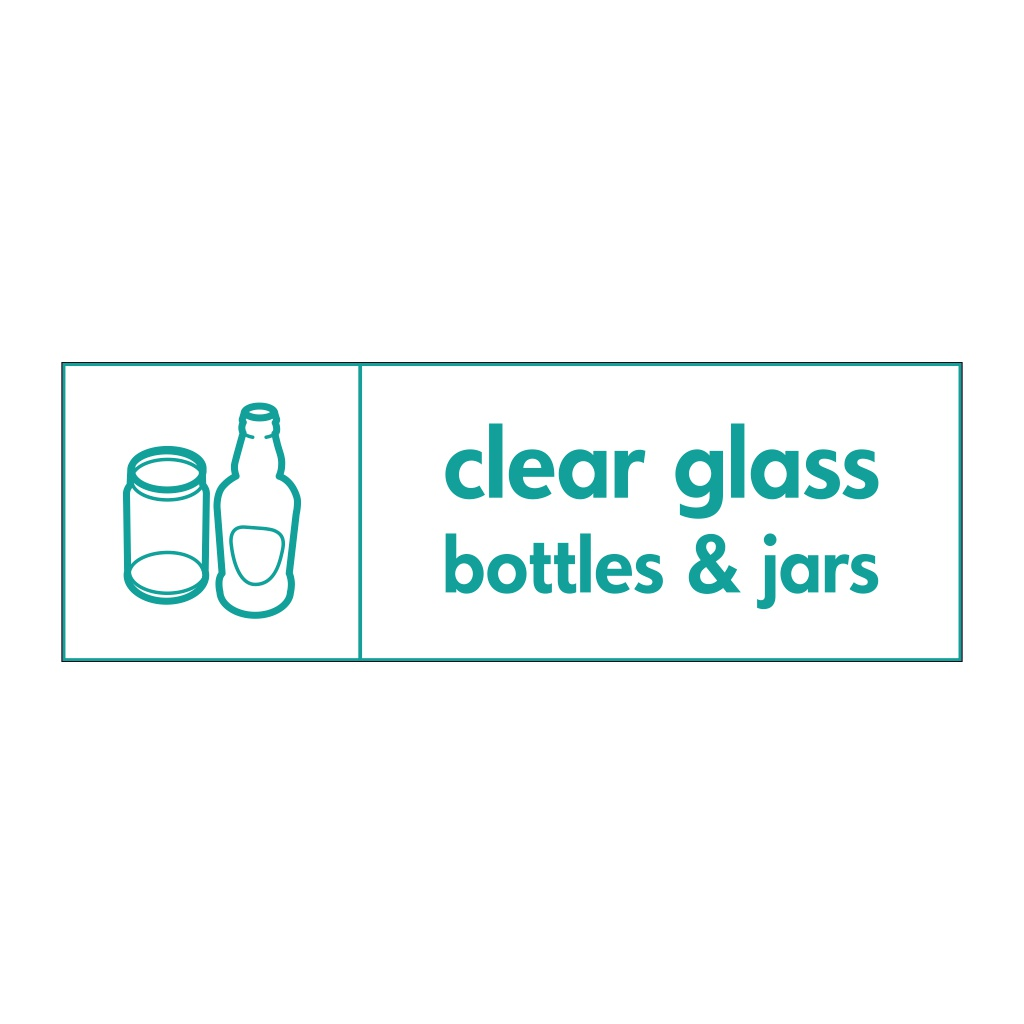 Clear glass bottles & jars with icon