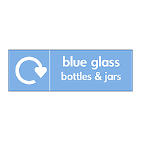Blue glass bottles & jars with WRAP recycling logo sign