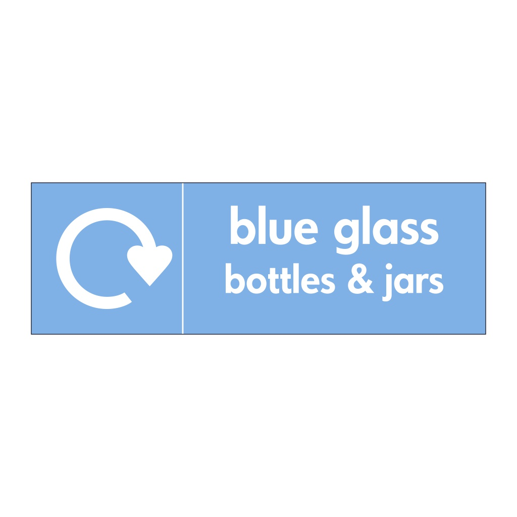Blue glass bottles & jars with WRAP Recycling Logo