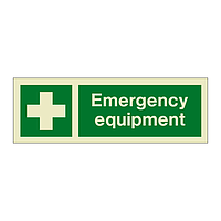 Emergency Equipment with text (Marine Sign)
