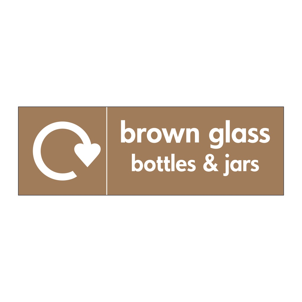 Brown glass bottles & jars with WRAP recycling logo sign