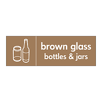 Brown glass bottles & jars with icon sign