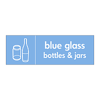 Blue glass bottles & jars with icon sign