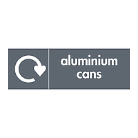 Aluminium cans with WRAP recycling logo sign