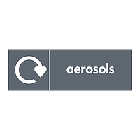 Aerosols with WRAP Recycling Logo sign