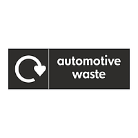 Automative waste with WRAP Recycling Logo sign