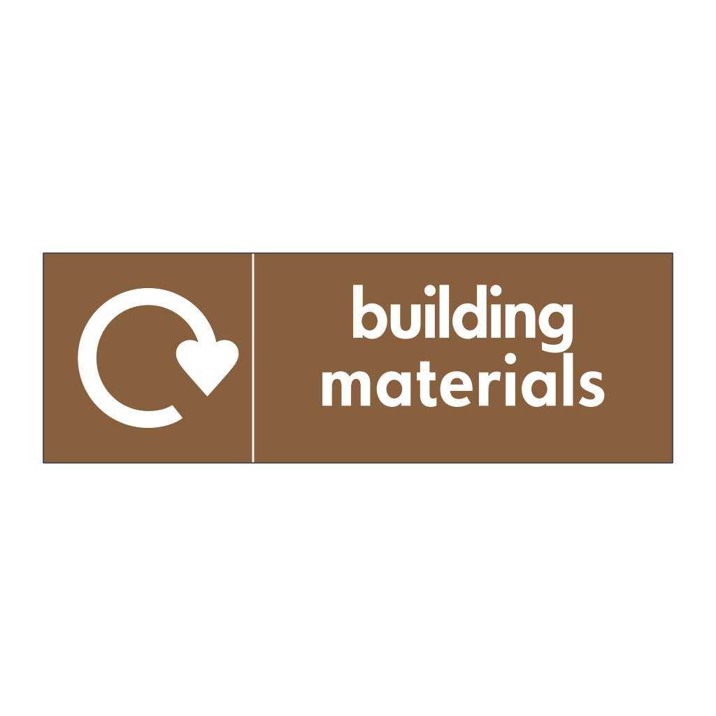 Building materials with WRAP recycling logo sign