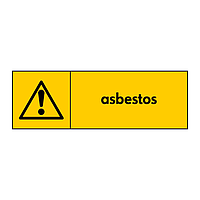 Asbestos with warning icon sign