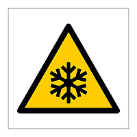 Low temperature freezing conditions hazard warning symbol sign