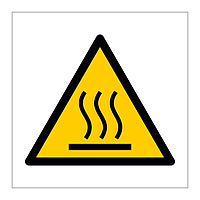 Hot surface hazard warning symbol sign