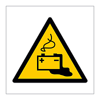Battery charging hazard warning symbol sign