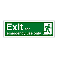 Exit for Emergency Use Only Running Man Right sign