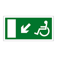 Disabled Exit Arrow Down Left sign