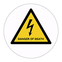 Danger of Death hazard warning symbol labels (Sheet of 18)