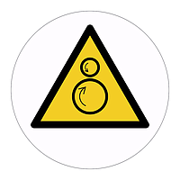 Counterdating rollers hazard warning symbol sign (Sheet of 18 Labels)