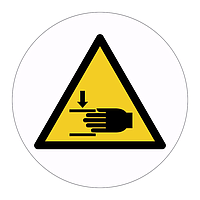 Crushing rotating parts hazard warning symbol sign (Sheet of 18 Labels)