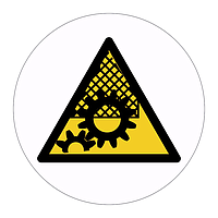 Guards must be in place hazard warning symbol labels (Sheet of 18)