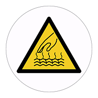 Hot surface hazard warning symbol labels (Sheet of 18)