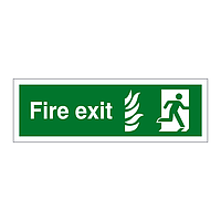 Fire Exit with Flames symbol Running Man sign