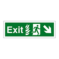 Exit with Flames symbol Arrow Down Right sign