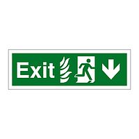 Exit with Flames symbol Arrow Down sign