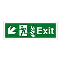 Exit with Flames symbol Arrow Down Left sign