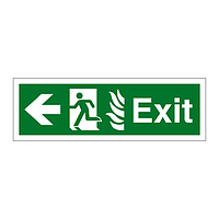 Exit with Flames symbol Arrow Left sign