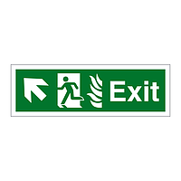 Exit with Flames symbol Arrow Up Left sign