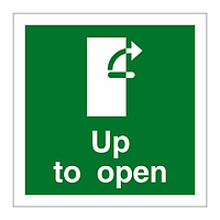 Handle Up Clockwise to Open Door sign